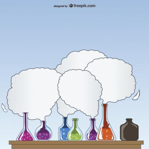 baňky s chemikáliemi